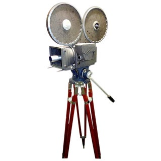 All Factory Original With Wood Tripod Cinema Newsreel Camera As Sculpture