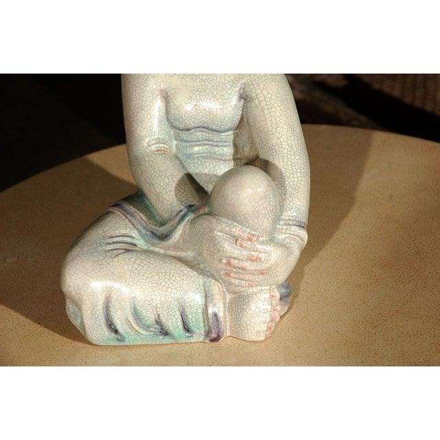 Large Crackle Glazed Buddha Figure - Image 4 of 8