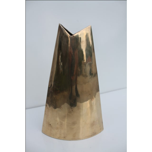 Geometric Brass Vase by J. Johnston - Image 5 of 7