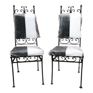 Black & White Iron Chairs - A Pair