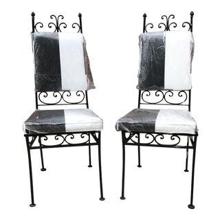 Black & White Iron Chairs - A Pair