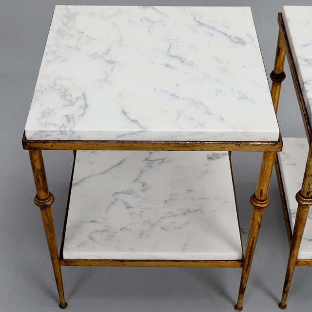 Pair of Spanish Gilt Metal and White Marble Side Tables - Image 6 of 11