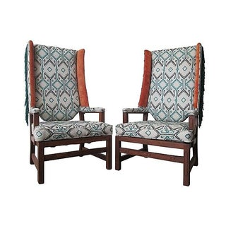 Fringe Wingback Chairs - A Pair