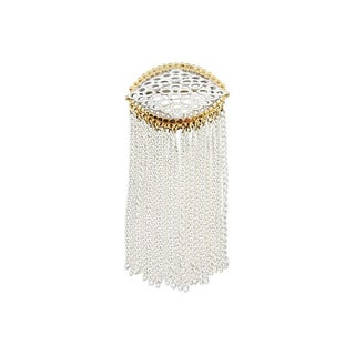 Monet White Enamel Fringe Couture Brooch