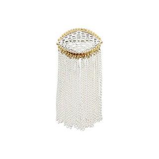 Monet White Enamel Fringe Couture Brooch