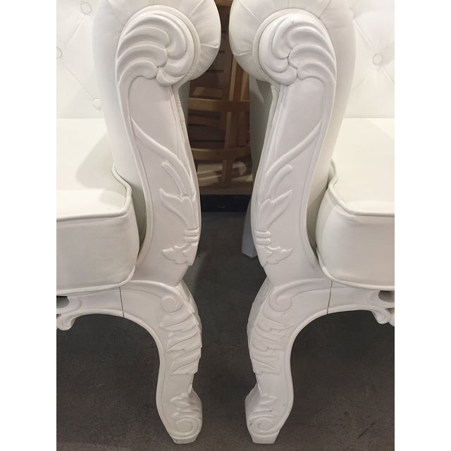 White Rococo Wingback Chairs - A Pair - Image 6 of 11