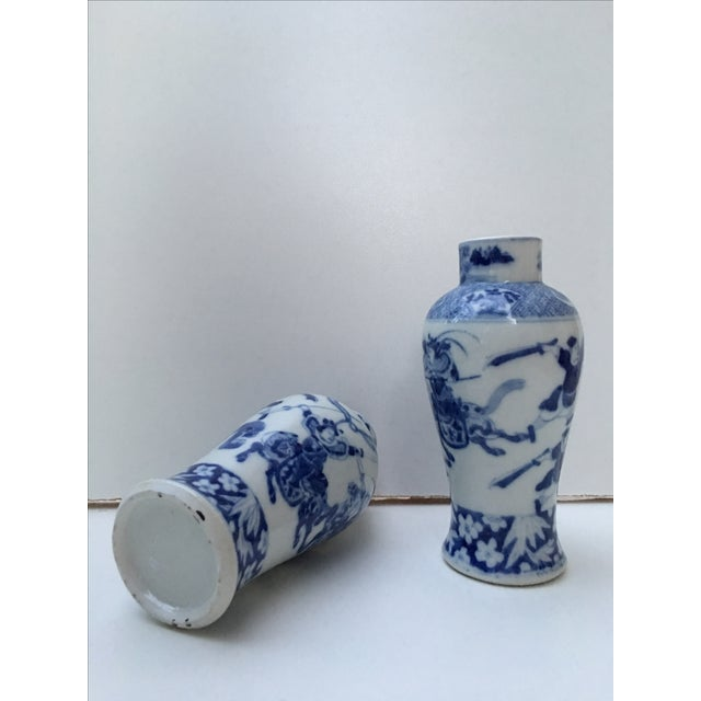 Antique Blue & White Samurai Vases - A Pair - Image 3 of 6