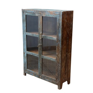 Colonial Sanskrit Blue Wood Cabinet