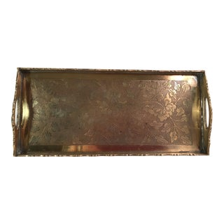 Mid-Century Modern Decorative Handled Brass Tray