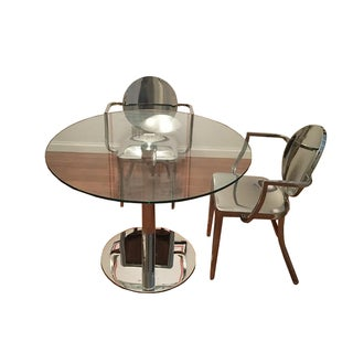 Modani Round Glass Dining Set with Table and 2 Ivy Metallic Chairs