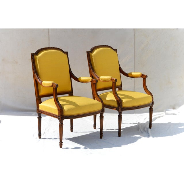 Louis XVI Fruitwood & Yellow Bergeres - A Pair - Image 7 of 10