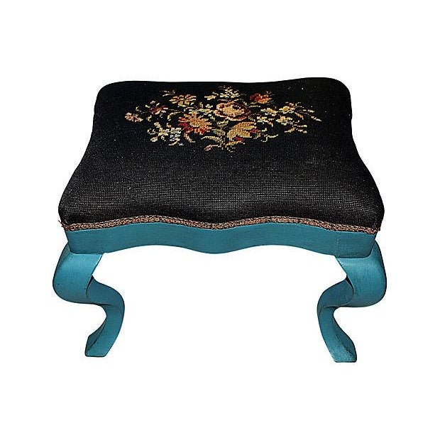 Image of Antique Needlepoint Footstool