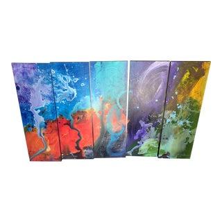 Gino Savarino 5 Panel Oil Painting Abstract