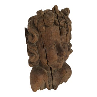 Flemish Carved Oak Cherub Head, 17th Century
