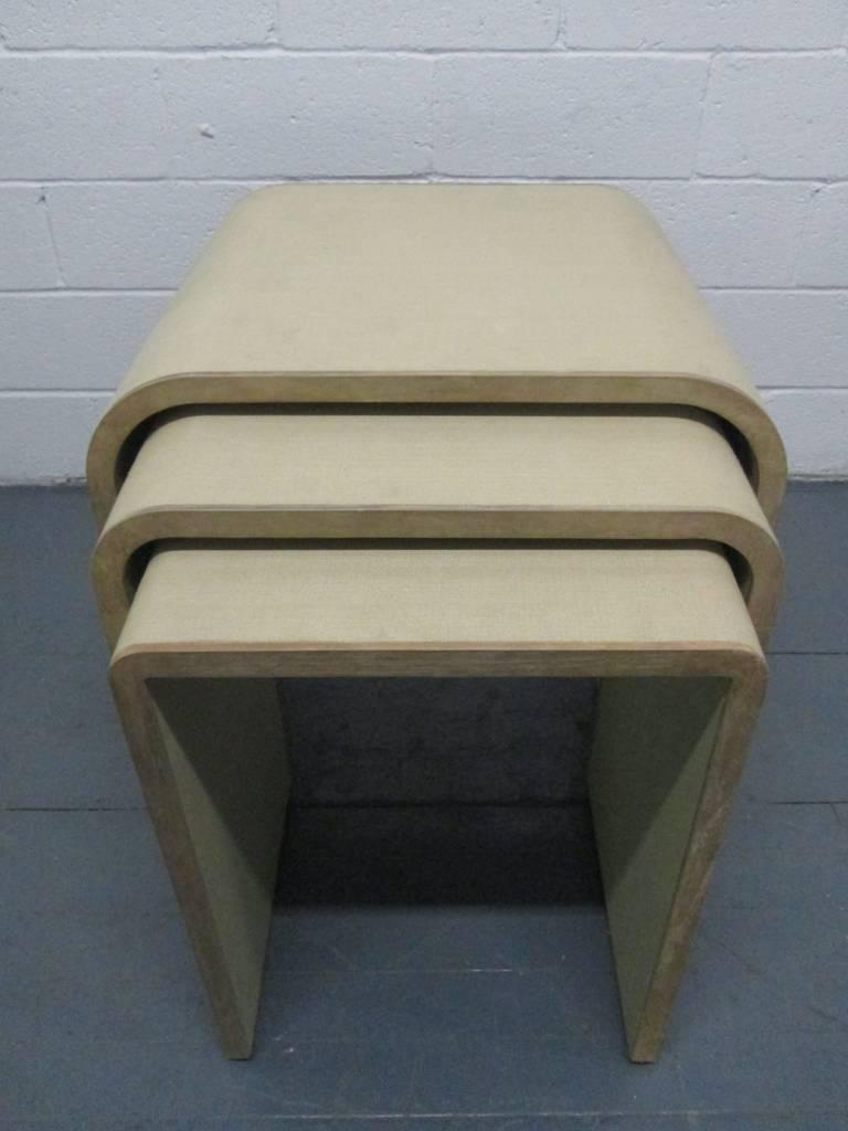 Exceptional Linen Wrapped And Cerused Nesting Tables Manner Of Karl Springer   Image 3  Of 6
