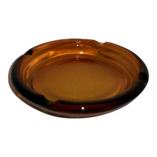 Mid-Century Brown/Amber Glass Ashtray