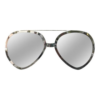 Huge Pair of Aviator Glasses Wall Mirror in Chromed Frame