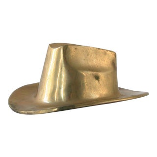 Brass Cowboy Hat Figurine