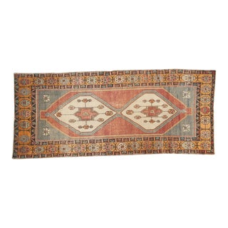 "Vintage Distressed Oushak Rug Runner -3'11"" x 9'2"""