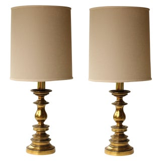 Westwood Brass Candlestick Lamps - A Pair