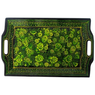 Black & Green Papier-Mâché Tray