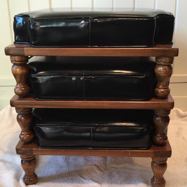 Vintage Black Vinyl Stacking Footstools Set Of 3 Chairish