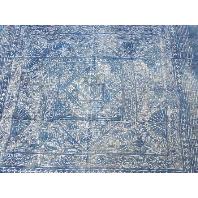 Antique 1930s Softly Faded Blue Batik Textile - Image 3 of 5