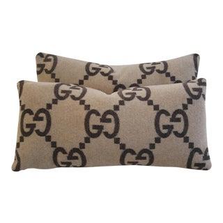 "24"" X 12"" Designer Gucci Cashmere & Velvet Feather/Down Pillows - Pair"