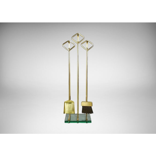 Image of 1970s Fontana Arte Style Solid Brass Fireplace Tools