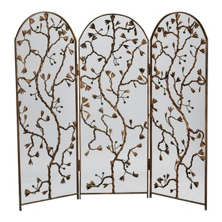 Gilt Metal Three-Panel Floor Screen with Vine and Berry Motif