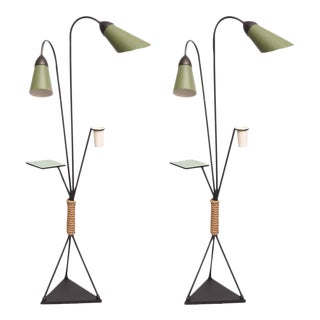Pair of Italian Iron and Aluminum Floor Lamps with Shelf & Bud Vase, Italy