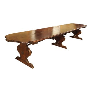 Florentine Renaissance Style Walnut Wood Monastery Table
