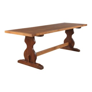 French Golden Oak Trestle Table, 1940s