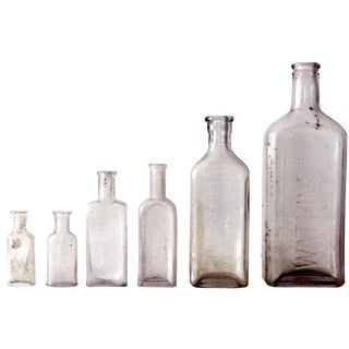 Purple Glass Apothecary Bottles - Set of 6