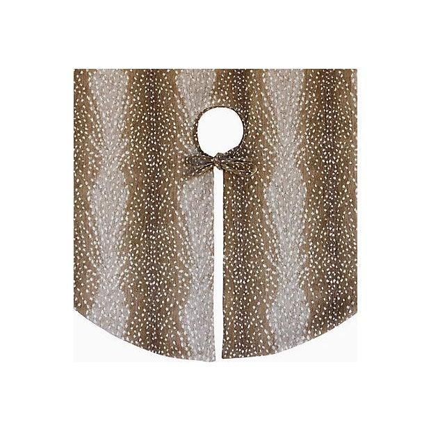 """X-Large 55"""" Custom Tailored Deer Fawn Velvety Chenille Christmas Tree Skirt - Image 4 of 9"""