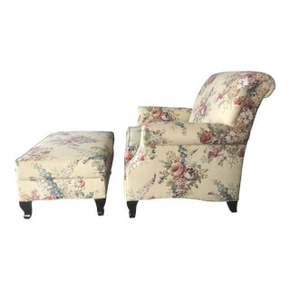 Ethan Allen Avery Chair and Ottoman Set