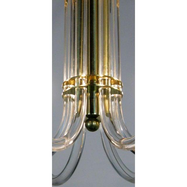 Image of Peter Hamburger Brass & Acrylic Six-Arm Chandelier