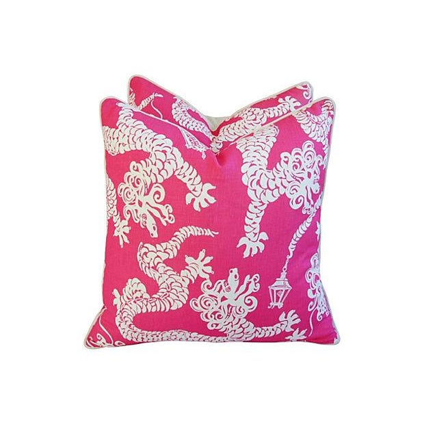 Designer Lee Jofa Lilly Pulitzer Dragon Tail Lights Pink/White Pillows - Pair - Image 3 of 7