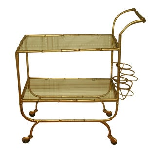 Italian Bar Cart with Gilt Metal Glass Shelves