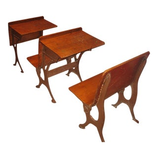 Row of Antique School Desks- 3 Pieces