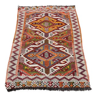 Anatolian Tribal Embroidered Kilim Area Rug -2′6″ × 3′10″