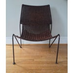Image of Mid Century Modern Cane and Iron Sling Scoop Chair