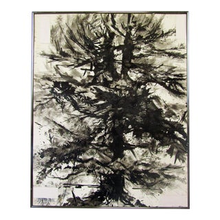 Abstract Black & White Pine Tree Signed Original