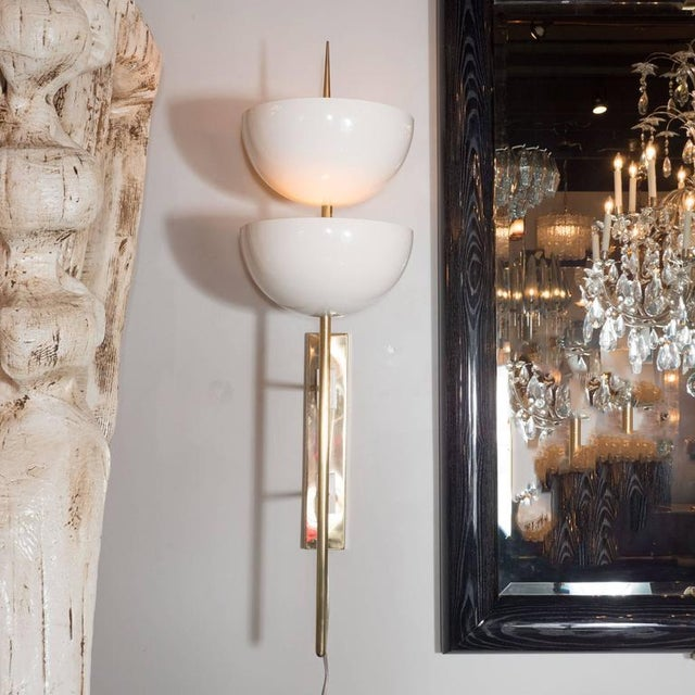 Pair of Monumental Reverse-Dome Trophy Sconces in White Enamel and Brass - Image 9 of 10