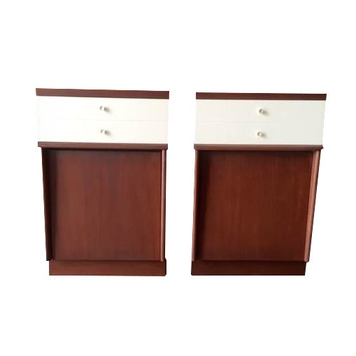 Mid-Century Walnut Nightstands - A Pair - Image 1 of 6
