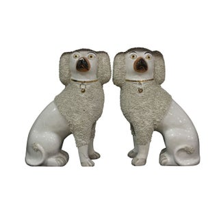 Staffordshire Poodle Figurines - A Pair