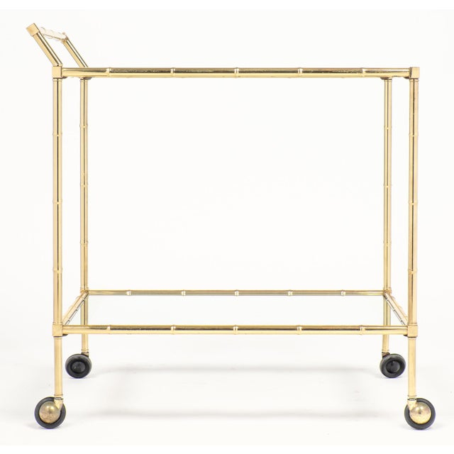 Vintage French Brass Faux Bamboo Bar Cart or Trolley by Maison Baguès - Image 3 of 9