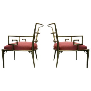Mid-Century Italian Solid Brass Greek Key Arm Side Chairs - A Pair