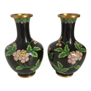 Black Cloisonne Vases with Pink Flowers - A Pair