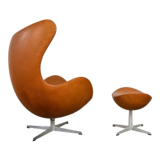 Arne Jacobsen Leather Egg Chair and Ottoman